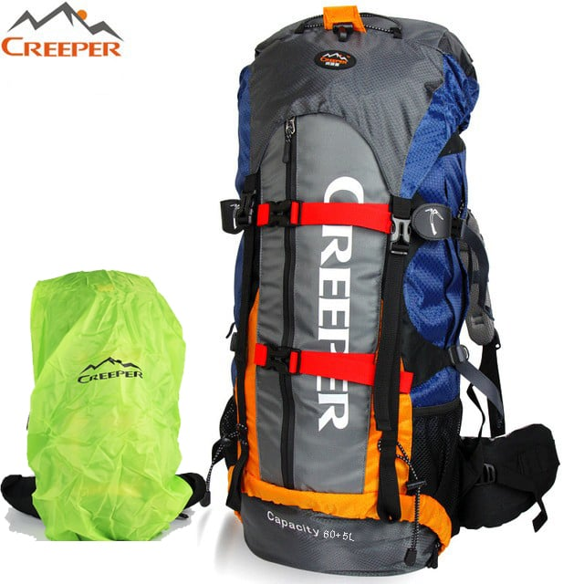 Creeper Outdoor Sports Camping Hiking Waterproof Backpack Daypacks Professional CR Mountaineering Bag 65L Travel Trekking Rucksack with Rain Cover